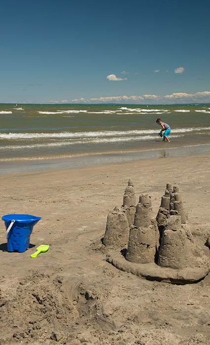 Wasaga Beach with boy playing